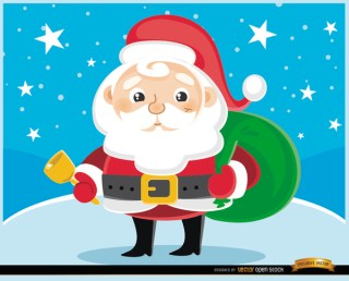 Cartoon Santa Claus Cowbell Free Vector
