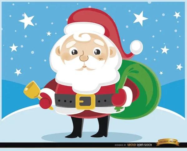 Cartoon Santa Claus Cowbell Free Vector