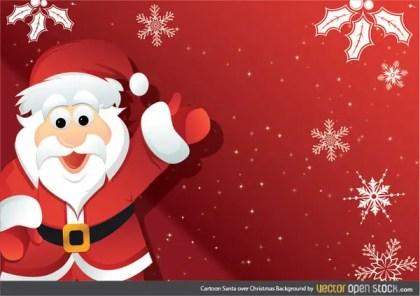 Cartoon Santa Over Christmas Background Free Vector