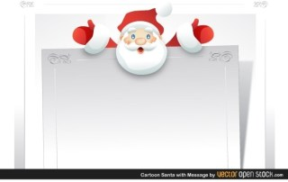 Cartoon Santa with Message Free Vector