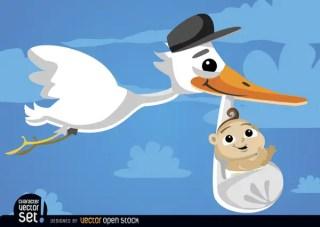 Cartoon Stork Carrying Baby At Sky Free Vector