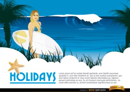 Cartoon Surfer Girl Background Free Vector