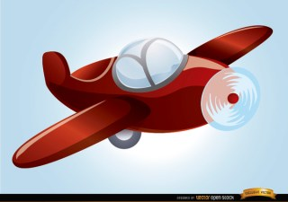Cartoon Toy Plane Flying Free Vector
