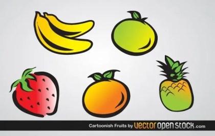 Cartoonish Fruits Free Vector