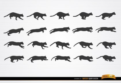 Cat Animal In Motion Silhouettes Free Vector