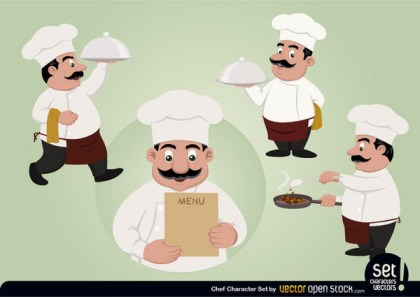 Chef Character Set Free Vector