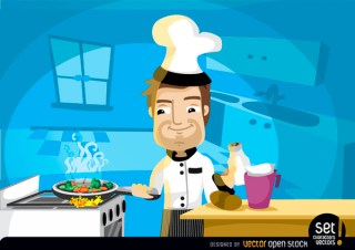Chef Cooking In The Kitchen Free Vector