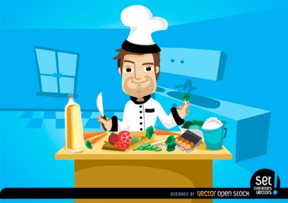 Chef Cooking on Kitchen Table Free Vector