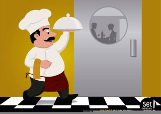 Chef Serving Food For Couple Free Vector