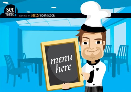 Chef Showing Menu In A Restaurant Free Vector