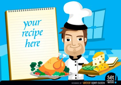 Chef with Chicken, Cheese and Recipe Note Free Vector