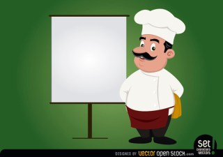 Chef with Presentation Screen Free Vector