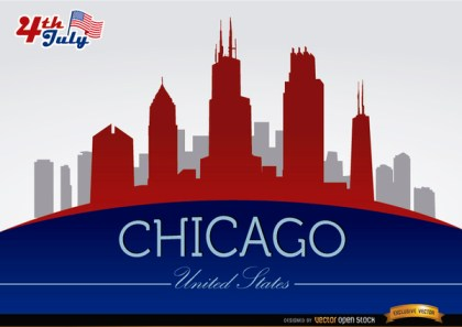 Chicago Skyline on July 4Th Celebration Free Vector
