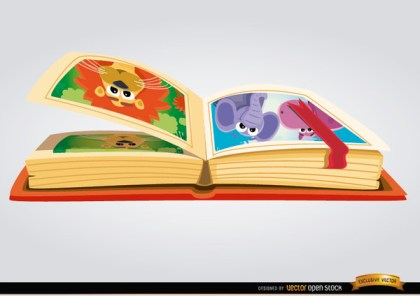 Children Book with Cartoon Images Free Vector