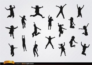 Children Jumping Silhouettes Pack Free Vector