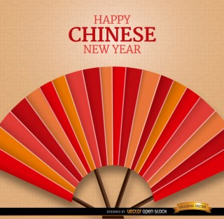 Chinese New Year Fan Background Free Vector