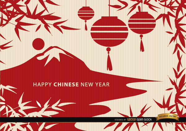 Chinese New Year Landscape Draw Wallpaper Free Vector