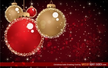 Christmas Balls Greeting Card Free Vector