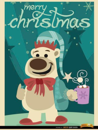 Christmas Bear with Hot Chocolate Free Vector