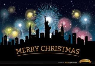 Christmas Fireworks New York Skyline Free Vector