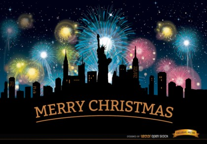 Christmas Fireworks New York Skyline Free Vector