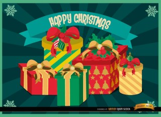 Christmas Gifts Radial Stripes Background Free Vector
