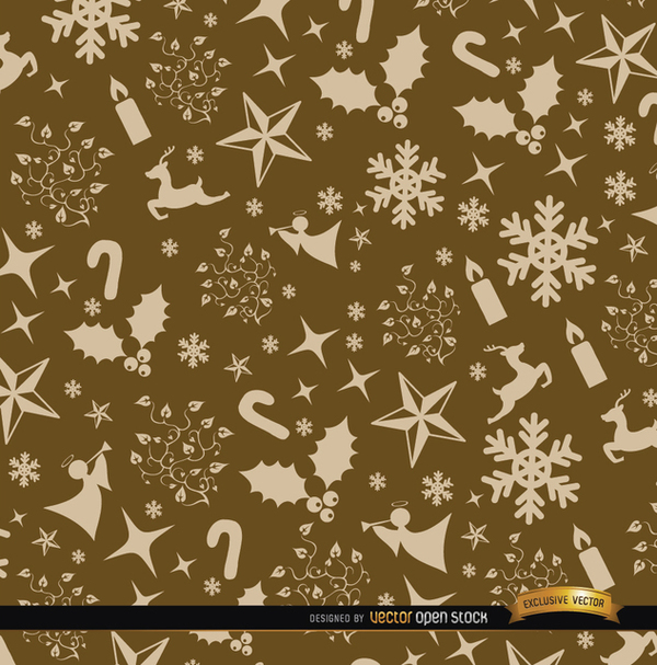 Christmas Golden Ornaments Pattern Free Vector
