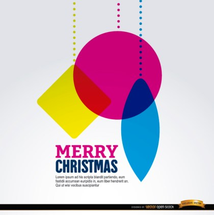 Christmas Hanging Geometric Shapes Background Free Vector