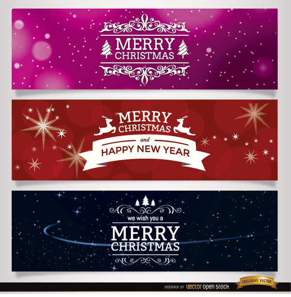 Christmas Ornaments Banners Free Vector