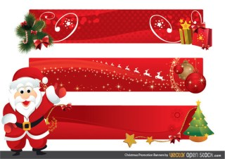 Christmas Promotion Banners Free Vector