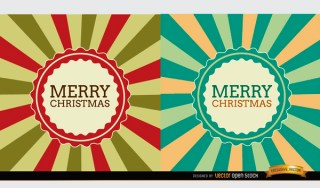 Christmas Radial Stripes Label Background Free Vector