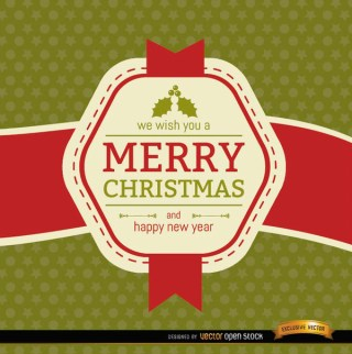 Christmas Ribbon Label Wishes Free Vector