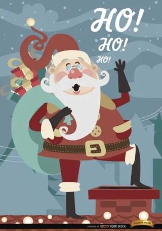 Christmas Santa Claus Over Chimney Free Vector