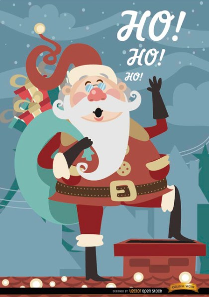 Christmas Santa Claus Over Chimney Free Vector