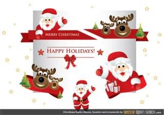 Christmas Santa Ribbons, Headers and Ornaments Free Vector