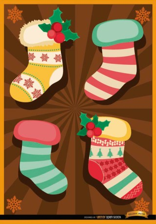 Christmas Socks Radial Stripes Background Free Vector
