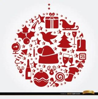 Christmas Symbols Hanging Ball Shape Free Vector