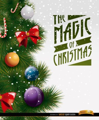 Christmas Tree Decoration Detail Free Vector