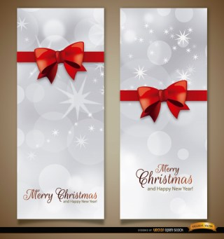Christmas Vertical Ribbon Bow Bookmarks Free Vector