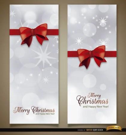 Christmas Vertical Ribbon Bow Bookmarks Free Vector