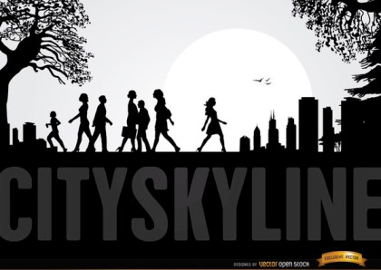 City Skyline with People Walking Free Vector