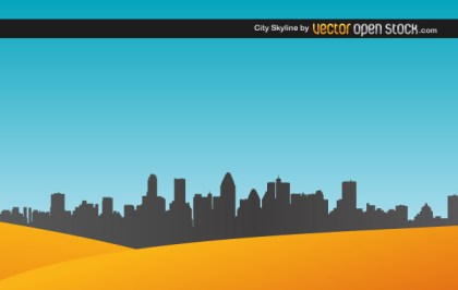 City Skyline with Sand Free Vector