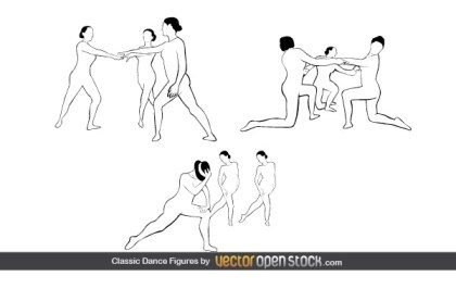 Classic Dance Figures Free Vector