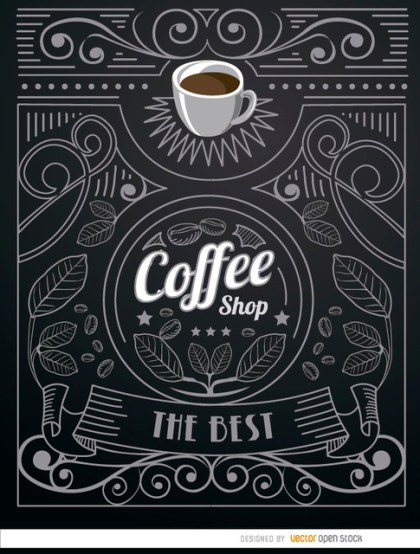 Coffee Shop Doodle Logo with Ornaments Free Vector