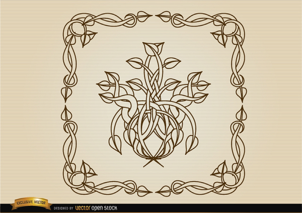 Coiled Stems Decoration Frame Free Vector