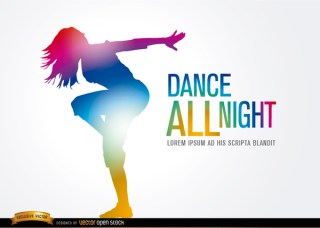 Colored Dancing Girl Figure Free Vector