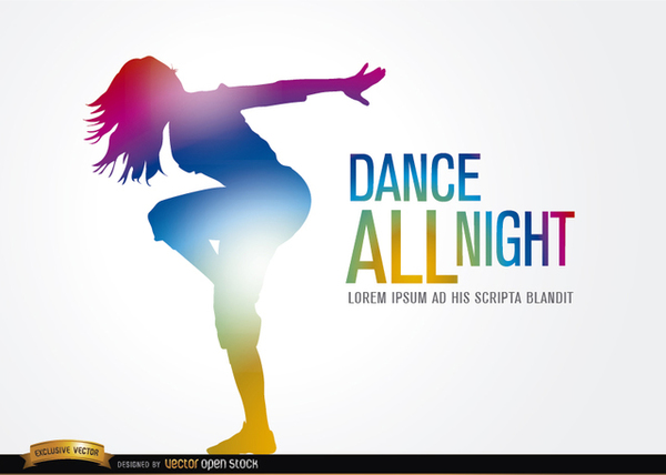 Colored Dancing Girl Figure Free Vector