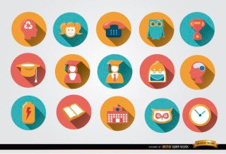 Colorful Academic Round Icons Free Vector