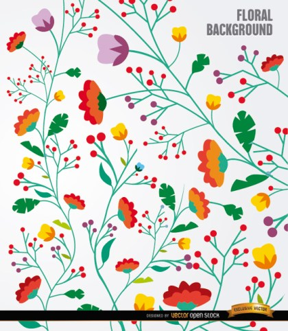 Colorful Flowers Long Stems Background Free Vector