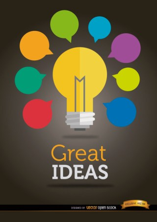 Colorful Ideas Light Bulb Free Vector